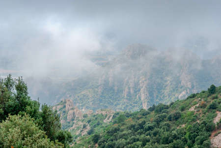 Mountains near Montserrat Abbey in Spain. Clouds and fog. Trees on cliffs.