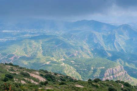 Hazy unusual mountains Fog on the mountain Montserrat Monastery, Spain