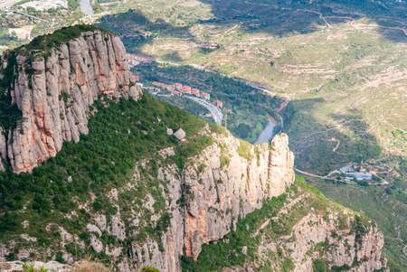 Breathtaking view to Montserrat mountain range on a sunny summer day, Catalonia, Spain