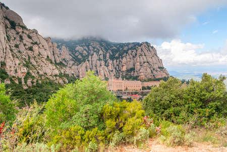 Santa Maria de Montserrat Abbey in Monistrol de Montserrat, Catalonia, Spain.
