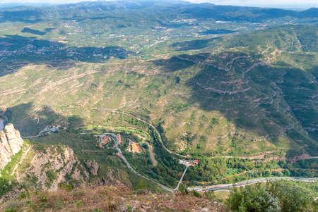 Breathtaking view to Montserrat mountain range on a sunny summer day near Barcelona, Catalonia, Spain 版權商用圖片