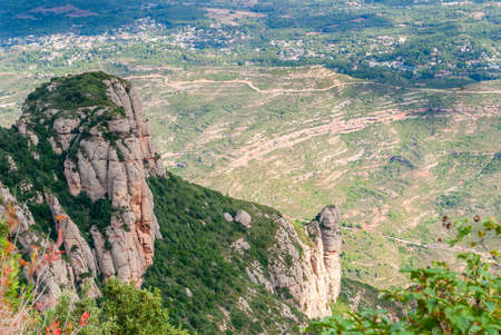 Breathtaking view to Montserrat mountain range on a sunny summer day near Barcelona, Catalonia, Spain Stock Photo