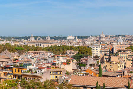 Rome overview with monument Panorama from Piazzale Garibaldi. Italy