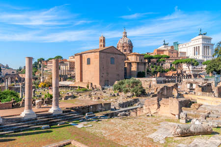 Roman Forum in Rome, Italy. Roman Forum is one of the main tourist attractions in Europe.