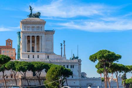 Monument of Victor Emmanuel: Altare della Patria, Monumento Nazionale a Vittorio Emanuele II, Vittoriano on the sunset in Rome, Italy