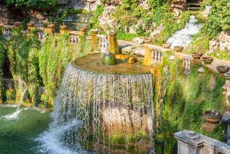 Villa D Este gardens in Tivoli - Oval Fountain or Fontana del Ovato local landmark of Tivoli near Rome - Lazio region - Italy . 写真素材