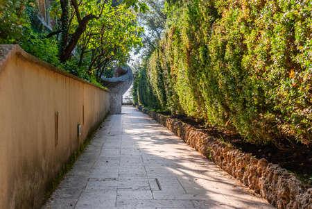 Stone Walkway along Villa dEste. Tivoli, Italy.
