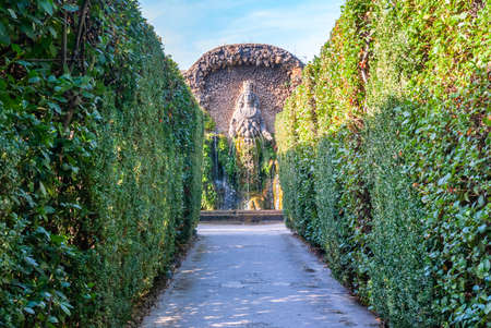 Famous Italian Renaissance garden. Tivoli Gardens. Parks and trees of Villa DEste. Lazio region, Italy