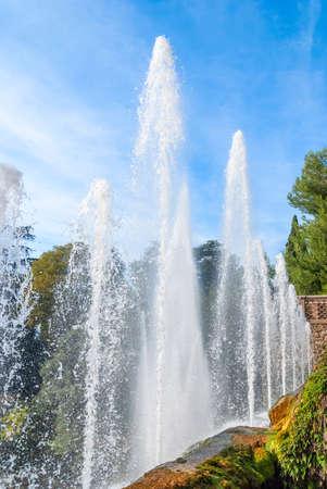 Water jets and fountains of the Villa d'Este in Tivoli. Lazio region, Italy .