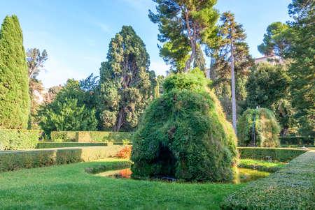 Famous Italian Renaissance garden. Tivoli Gardens. Parks and trees of Villa D'Este. Lazio region, Italy