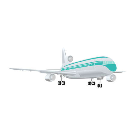 Large passenger jet airliner realistic white background isolated
