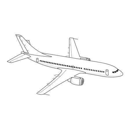 Flying passenger plane on a white background, view from right side