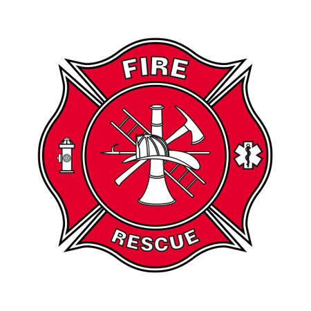 Fire Department Emblem St Florian Maltese Cross Red with black Outline