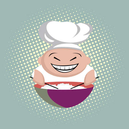 Funny asian cook with chopsticks cooks rice in a plate, chinese restaurant sign, icon