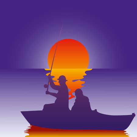Vector illustration background fisherman on the boat fishes at sunset. Fishing at sunrise.