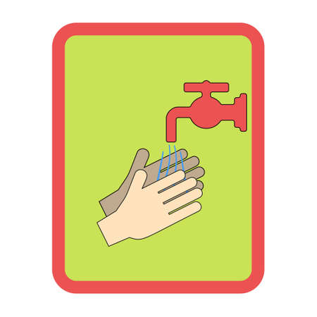 Hands under falling water out of tap. Man washes hands, hygiene. Vector illustration in flat style