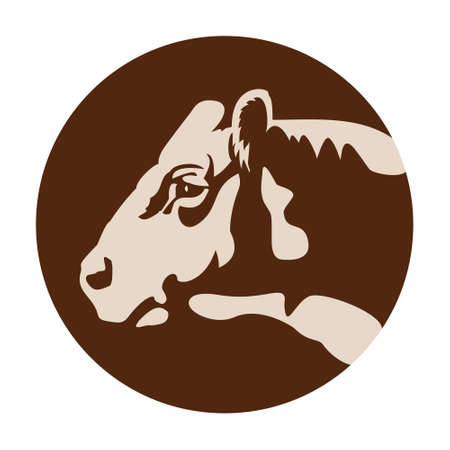 Cow head  icon, farm domestic animal as rural or healthy natural fresh food sign. Beef or steak banner, butchery, organic nutrition theme.