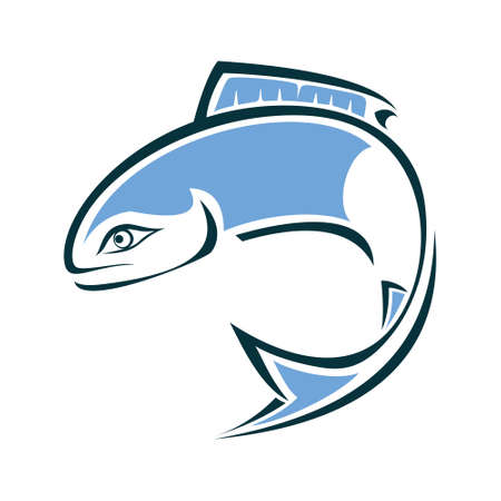 Fish Logo design vector template. Round sign. Seafood restaurant shop store Logotype concept icon. 矢量图像