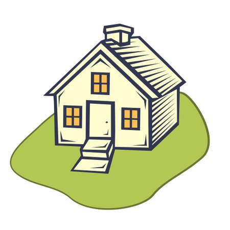 House flat icon. flat style, house with a green lawn, vector illustration