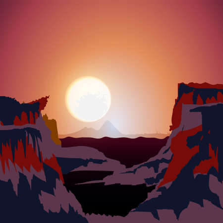 Vector beautiful landscape, purple sunset in mountains. Nature background template with place for text.
