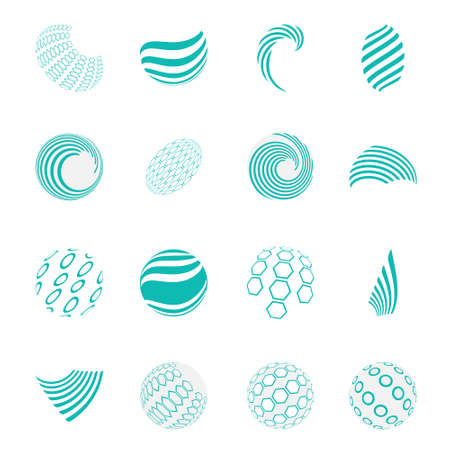 Collection of universal spherical  business abstract icons, isolated on white background 矢量图像