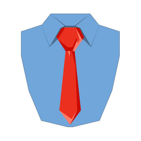 Shirt and tie flat icon. Front view, Vector illustration of dress shirt