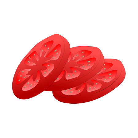 Sliced tomato isolated over white background. Vector illustration.