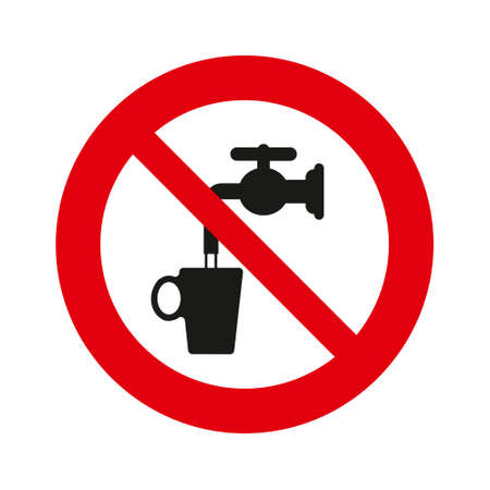 Do not drink water, vector sign. isolated over white background. Vector illustration.