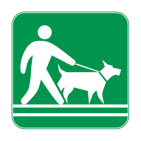 Green sign, man walking with a dog on a leash. Prohibiting and resolving signs. Dog owner sign. 矢量图像