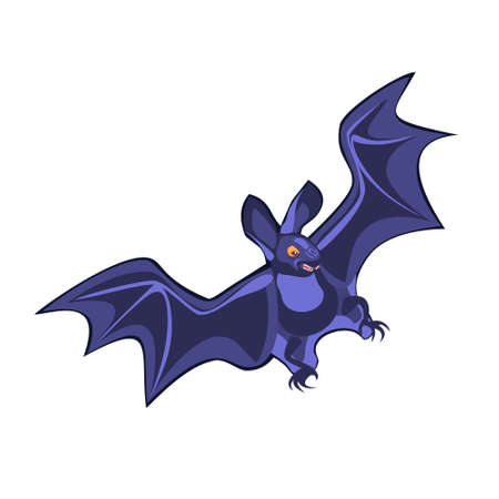 Vector cartoon illustration bat character, flying with wings spread, in flat contemporary style isolated on white.