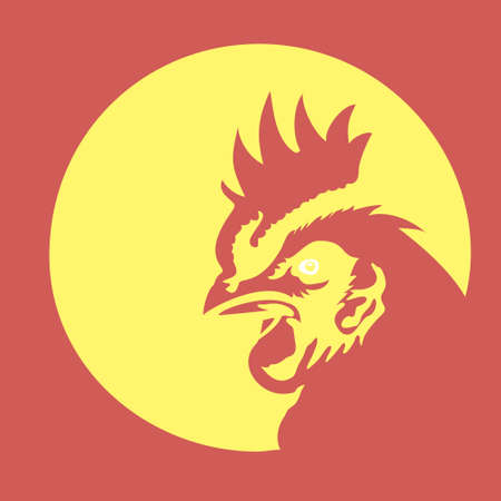Creative rooster with circle line vector concept style. Bird cock abstract illustration.