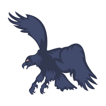 Vector illustration attacking eagle with spread wings, isolated on white background.