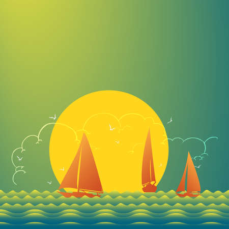 Sunset at sea with yachts. Sea voyage on the yacht.. Yachting. Vector Illustration 矢量图像
