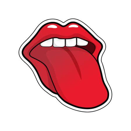 Pop art vector tongue sticking out 矢量图像