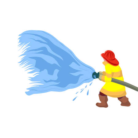 Fireman extinguishes the fire by spraying the water. He is clothed in a protective uniform. On a white background 矢量图像