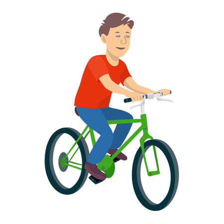 Illustration of a young boy riding a bicycle on a white background. Vector