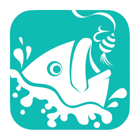 Fishing design, Fish And Hook  Template, Flat  Style. on a white background 矢量图像