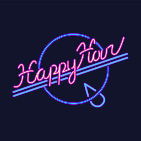 Happy Hour neon sign vector design template. Happy Hour neon , light banner design element colorful modern design trend, night bright advertising, brightsign. Vector illustration
