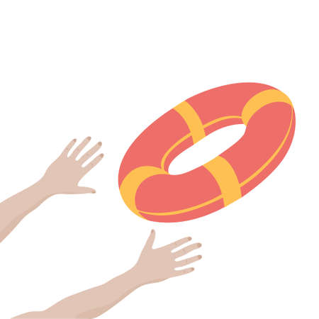 Getting lifebuoy for help, support, and survival. Vector illustration.