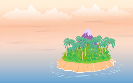 Tropical landscape, sea island with palm trees and sky with clouds. Vector 矢量图像