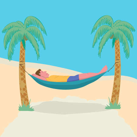 Man lying in a hammock attached to palm trees. Lazy vacation, downshifting, freelance. Freedom in tropical resort. Relaxation, procastination. 矢量图像