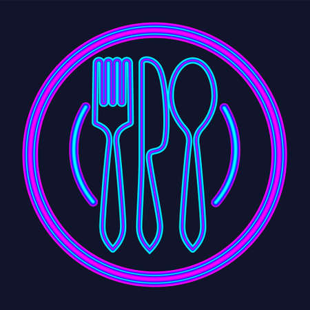 Plate, fork and knife neon sign. Meal and restaurant advertisement design. Night bright neon sign, colorful billboard, light banner. Vector illustration in neon style. 矢量图像