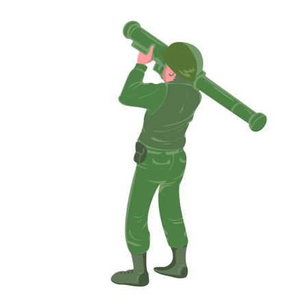 Military soldier holding and aiming rocket launcher. War zone battle sign or symbol. Heavy weapon. Ballistic missile explosion, flat vector character illustration. 矢量图像