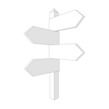 Vector Blank Direction Signpost Sign Arrow Icon Isolated on white Background 矢量图像