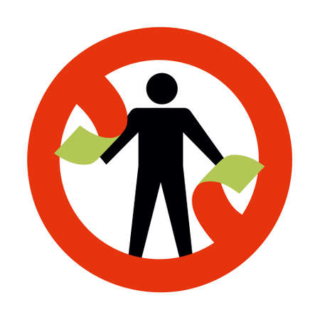 Conceptual illustration, man breaks the prohibition symbol no entry. Icon Isolated on white Background