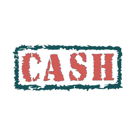 Rubber stamp with red text cash inside, vector illustration 矢量图像