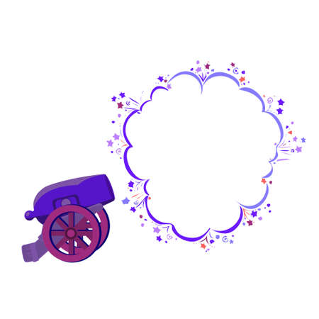 Shot from an ancient cannon with speech bubble place, vector illustration.