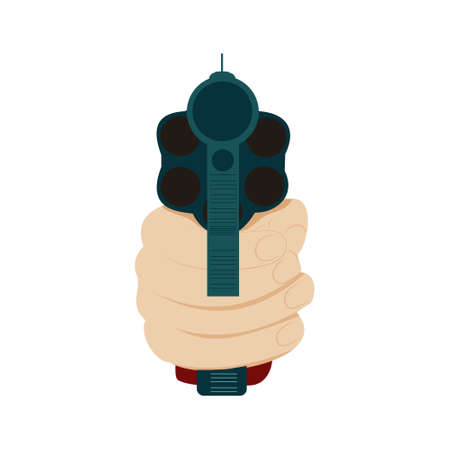 Hand holding gun in front view, isolated on white,
