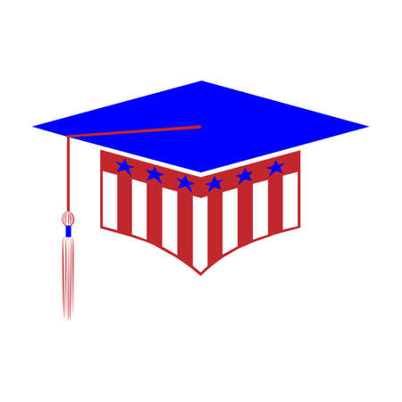 Graduation hat styled in the colors of the USA flag isolated on white background. Graduational day celebration element.