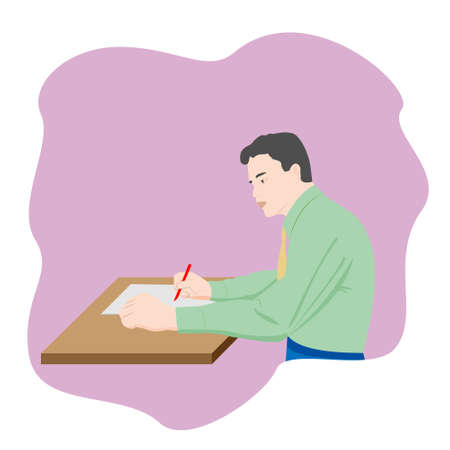 The man sitting at the table and writing notes on a piece of paper with a pen. Vector illustration isolated on white background.